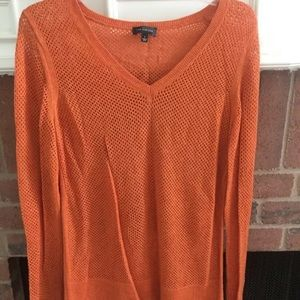 The Limited Orange Net Sweater Top Large